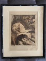 Csók István - Báthory Erzsébet - akvarellel színezett rézkarc