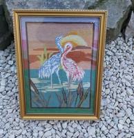 Gobelin, Goblen madaras, madarak madár ,kép Gyönyörű darab. Gyűjtői szépség