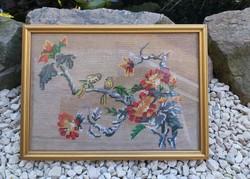 Gobelin, Goblen madaras, madarak faágon ,kép Gyönyörű darab. Gyűjtői szépség
