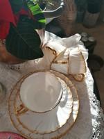 Antik fajansz Sarreguemines gyöngysoros, aranyozott csésze+alj+Kistányér, reggeliző szett