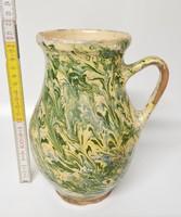 Zöld, törtfehér folyatott mázas népi kerámia tejes köcsög (1437)