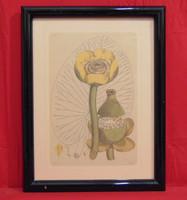 Virágtanulmány I. - Szépen elkészített oktató jellegű munka, grafikai alkotás a 60-70-es évekből