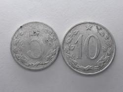 Csehszlovákia 5,10 Heller - 1953,1963 eladó csehszlovák pénzérmék