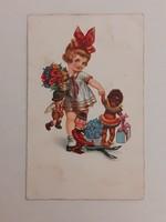 Régi képeslap kislány játékokkal levelezőlap