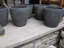 MINIMÁL design  Nagy 35cm Beton kő Kaspó Antracit szín virágtartó edény balkon tál
