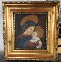 Antik Szűz Anya a Kisjézussal - festmény
