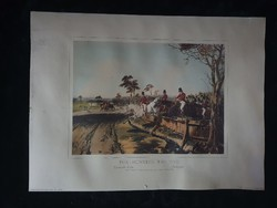Rókavadászat litográfia, 30x40 cm, keretben