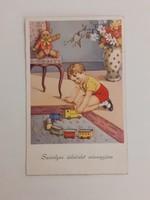 Régi képeslap 1942 kisfiú játékkal levelezőlap