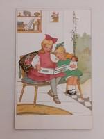Régi képeslap 1942 olvasó gyerekek levelezőlap