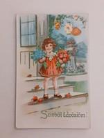 Régi képeslap 1942 kislány virágokkal levelezőlap