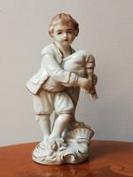 Sitzendorf barokk skót dudás fiú, rózsával, antik kézzel festett jelzett porcelán