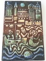 Kerámia falikép Pázmándi Antaltól, 20 x 35 cm