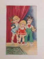 Régi képeslap gyerekek virágokkal levelezőlap