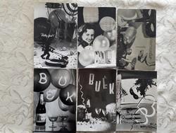 Régi újévi képeslap szilveszteri retro levelezőlap 6 db