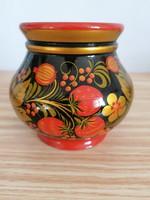 Gyönyörű,gyümölcs mintás orosz lakk fa váza
