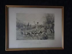 Rókavadászat litográfia, 30x40 cm, üvegezett keretben