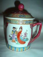 Vintage kínai, fedeles porcelán teatartó