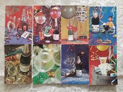 Régi újévi képeslap szilveszteri pezsgős retro levelezőlap 8 db