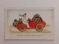 Régi képeslap autós levelezőlap tortaszállító kis cukrász
