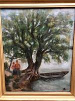 Antik olaj vászon festmény