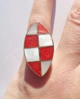 Gyöngyház és koráll berakásos állítható méretű 925-ös gyűrű