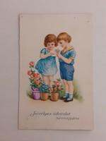 Régi képeslap 1932 gyerekek levelezőlap