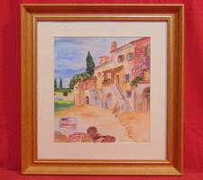 'Toscana'-Galériában vásárolt szépen megfestett látkép tipikus mediterrán házzal, hozzáillő keretben