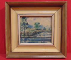 'Táj a kerítésen túl' - Szépen megfestett régi akvarell munka az 50-60-as évekből,hozzáillő keretben