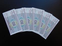 Fehéroroszország 10 rubel 2000 Hajtatlan bankjegyek Sorszámkövető 6 darab