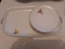 Alföldi jelzett porcelán aranydíszes kínáló 6 tányérral