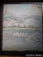 Barta Mária ( 1897 - 1989 ): Vízpart télen - art deco  Olaj, vászon, 60 x 50 cm Jelezve jobbra lent