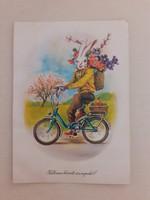 Retro húsvéti képeslap 1985 biciklis nyuszi levelezőlap