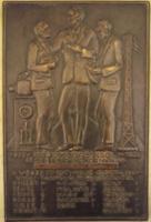 1932 bronz. emlékplakett márványlapon