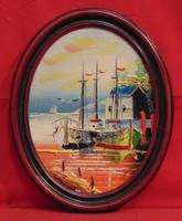 'Hajók a kikötőben' I. - Kellemes kis látkép ábrázolás ovális bakelit keretben a 70-80-as évekből