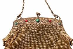 Antik gránát és malachit köves ezüst színházi táska