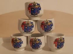 Alföldi jelzett porcelán pálinkás kupica színes Hódmezővásárhely címeres