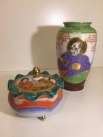 Arannyal festett japán porcelán váza és bonbonier - Satsuma (51)