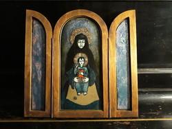 Tóbiás Klára alkotása Mária a kis Jézussal tűzzománc szárnyas ikon