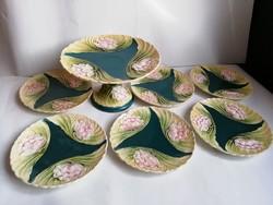 Szecessziós majolika süteményes készlet tavirózsás dekorral