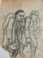 Huzella Pál: Piacról, 1946