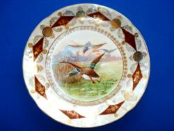Antik porcelán fali tál vadkacsákkal (cca 1900)
