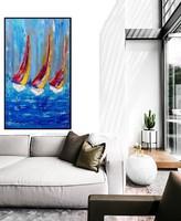 SUMMER BOATS absztrakt festmény - Kuzma Lilla