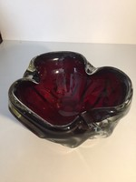 Cseh, hatalmas bordó kristályüveg tál - crystal glass bowl (13)