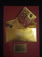 24 kt arany 500 eurós bankjegy hozzátartozó tokkal,  exclusív ajándék
