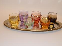 Gyönyörű Moser színes likőrös poharak