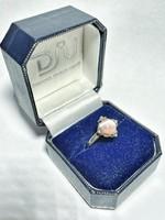 Rózsaszín, macskaszem köves ezüst gyűrű