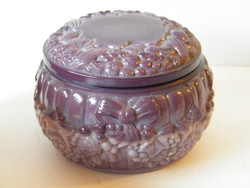 Art deco cseh üveg fedeles bonbonier, fedeles doboz