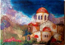 """Balla György Károly (1947-) """"Templom"""" olajkép"""