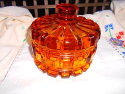 Nagy méretű, súlyos  borostyán színű üveg doboz-szép kézműves darab