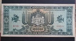 100000 millpengő 1946 Vf, alacsonyabb sorszám.